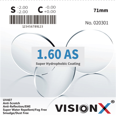 VisionX 1.60 AS UV407 SHMC