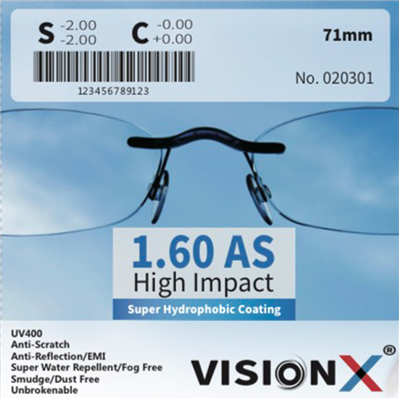 VisionX 1.60 AS High Impact  SHMC